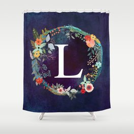 Personalized Monogram Initial Letter L Floral Wreath Artwork Shower Curtain