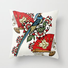 Asian Bird Art Deco Throw Pillow