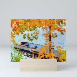 Boat Under Falling Leaves Mini Art Print