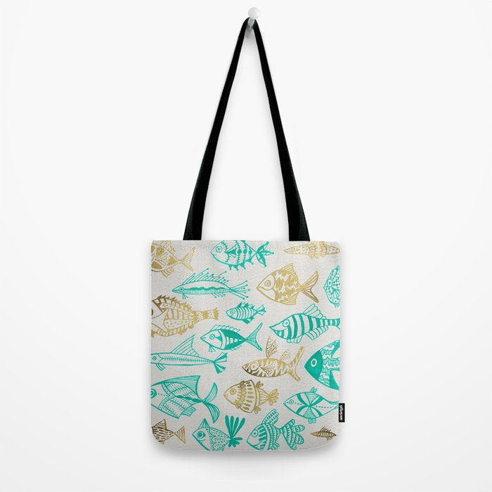 Inked Fish – Turquoise & Gold Tote Bag