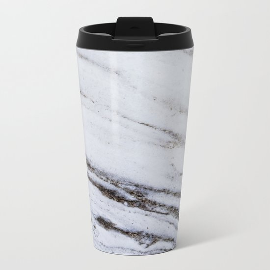 White Marble with Blue Metal Travel Mug