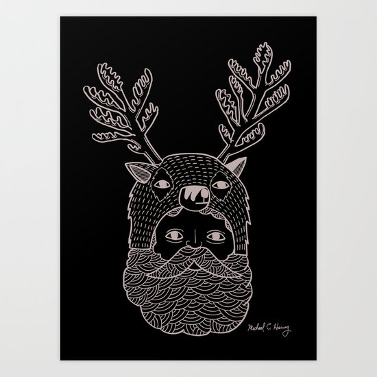 Portrait of Northern Deer Man Art Print