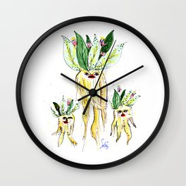 Roots - Mandrake - Mandragola Wall Clock