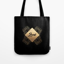 Loved in Black and Gold Tote Bag