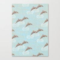 dolphins Canvas Prints featuring dolphins by marella
