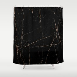 Black and rose gold / copper Shower Curtain