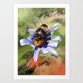 Bee on flower 18 Art Print