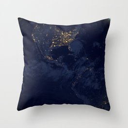 Beautiful Blue Marble North South America Night Side Ultra HD Throw Pillow