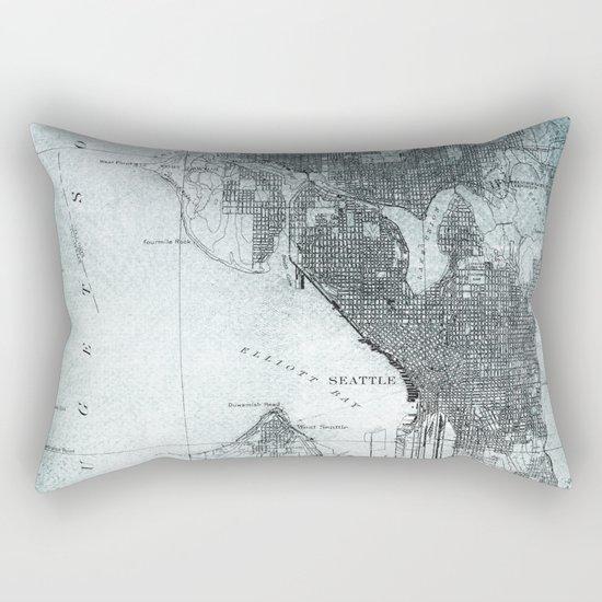 Vintage Seattle City Map Rectangular Pillow