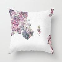 copenhagen Throw Pillows featuring Copenhagen map by MapMapMaps.Watercolors