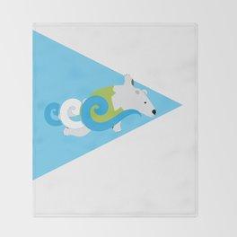 Swimming Polar Bear Triangle Throw Blanket