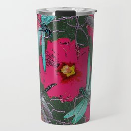 SHABBY CHIC BLUE DRAGONFLIES ON  FUCHSIA HOLLYHOCK FLOWERS Travel Mug
