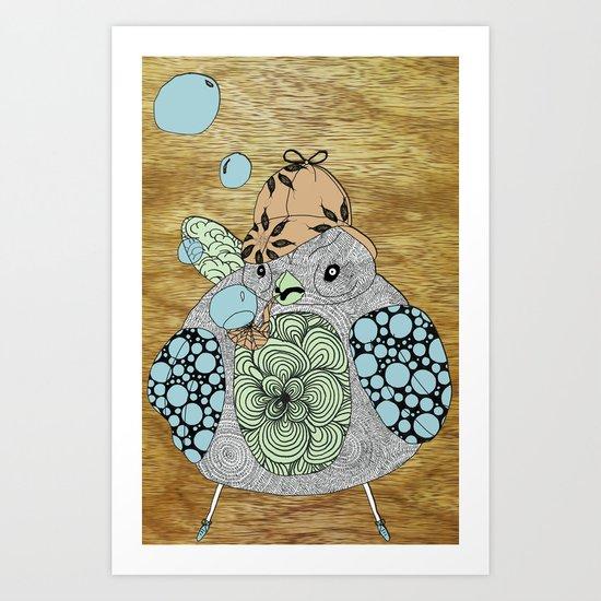 Sherlock Sparrow with wood background # 2 Art Print