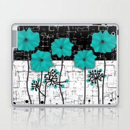 Turquoise flowers on black and white background . Laptop & iPad Skin