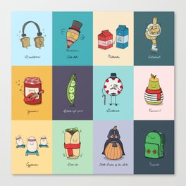 Punny Doodle Collection Canvas Print
