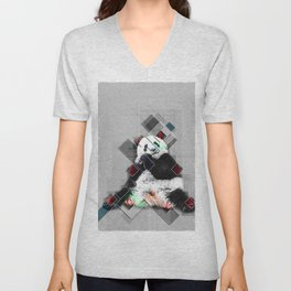 Cute colorful collage Panda Unisex V-Neck
