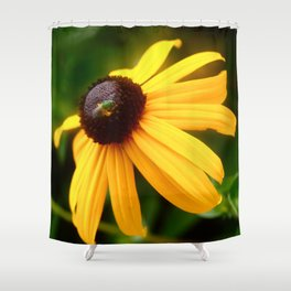 Flower with Bug Shower Curtain