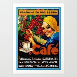Vintage Brazil Coffee Ad Art Print