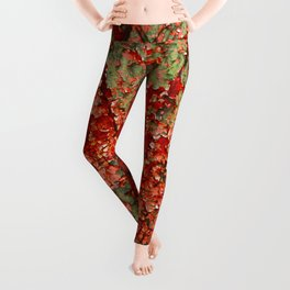 Abstract Red Rust on Green Paint Leggings