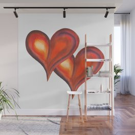 Two watercolor hearts, isolated on white background Wall Mural