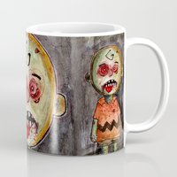 charlie brown Mugs featuring You're a zombie Charlie Brown by byron rempel