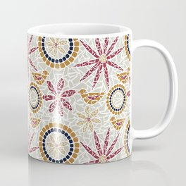 Birds and Flowers Mosaic - Grey, Rust and Red Coffee Mug