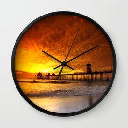 California Sunset * Huntington Beach Pier Wall Clock