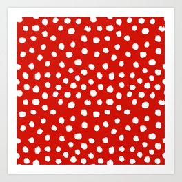 Christmas dots painted minimalist dotted pattern holiday red and white Art Print