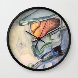 Halo gaming watercolor design Wall Clock