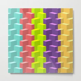 Colored Cubes in 3d Metal Print