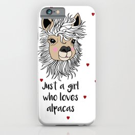 alpaca girl Llama Love Present Gift iPhone Case