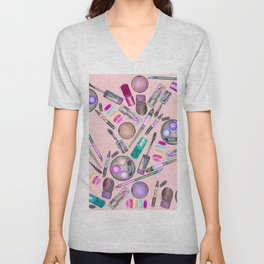 Girly Girl Hand Painted Watercolor Makeup on Pink Unisex V-Neck