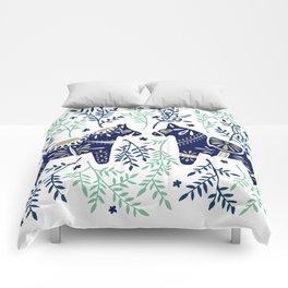 Swedish Dala Horse – Navy & Mint Palette Comforters