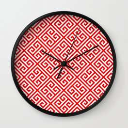 red, white pattern, Greek Key pattern -  Greek fret design Wall Clock