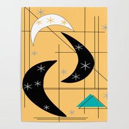 Mid-Century Boomerangs Yellow Poster