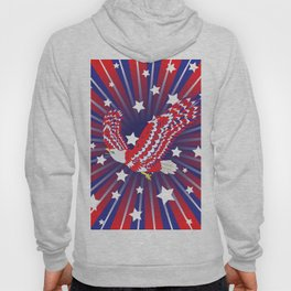 Blue red and white bald eagle with stars Hoody