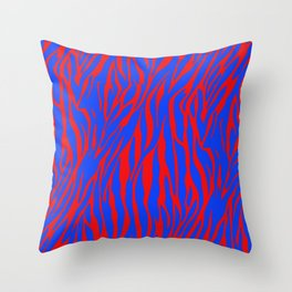 Zebra Print Red and Blue Throw Pillow