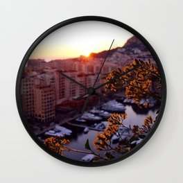 Sunset over Monaco Wall Clock