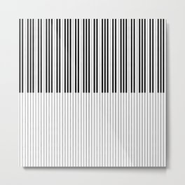 The Piano Black and White Keyboard Metal Print