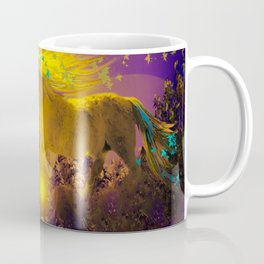 Unicorn In The Night Of Glow - My Fantasy Garden - #society6 Coffee Mug