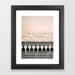 Graphic tile pattern   Moroccan Arabic tiles in earth tones.   Pastel film marrakech photography Framed Art Print