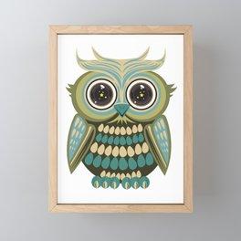 Star Eye Owl - Green Framed Mini Art Print