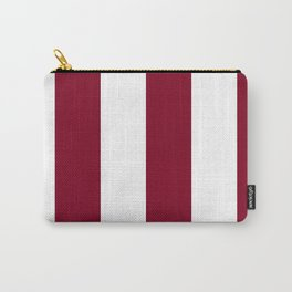 Wide Vertical Stripes - White and Burgundy Red Carry-All Pouch