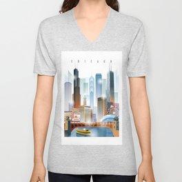Chicago city skyline painting Unisex V-Neck