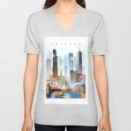 Chicago city skyline painting Unisex V-Neck