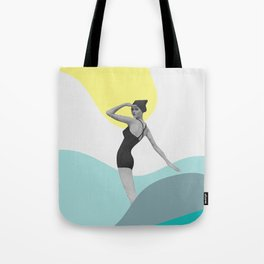 Swimmer Collage Tote Bag