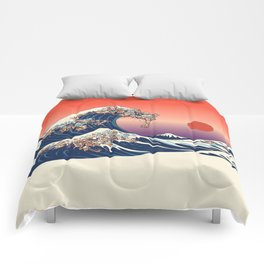 The Great Wave of Dachshunds Comforters
