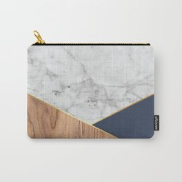 Geometric White Marble - Wood & Navy #599 Carry-All Pouch