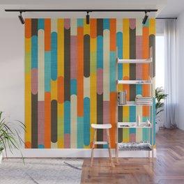Retro Color Block Popsicle Sticks Orange Wall Mural