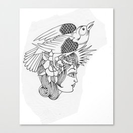 Lady with Bird in Hair Canvas Print